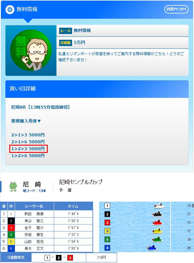 ミリオンボート11/11の無料情報