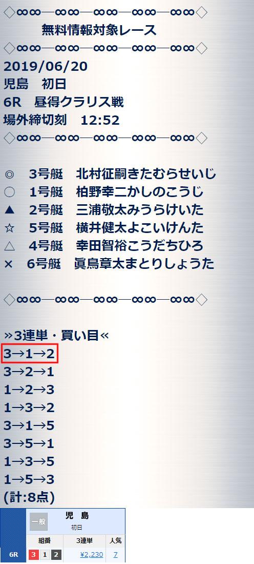 賞金王6/20の無料情報的中